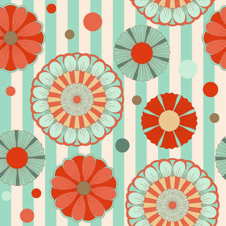 Spring pastel floral saemless pattern with lines
