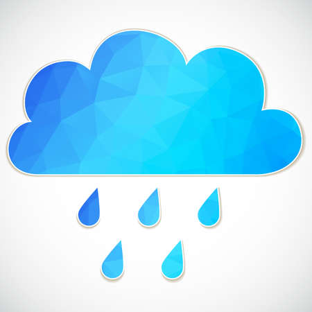 rain drop: Blue cloud with rain drop of triangles isolated Illustration