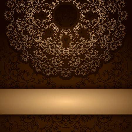 라운드 꽃 골드 장식 및 프레임 갈색 초대 카드