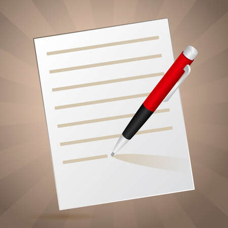 White inclined note and red pen with shadow