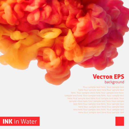 Orange color ink cloud in water abstract background Vector