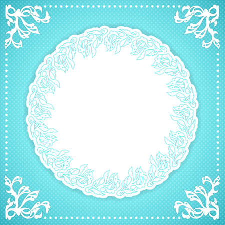 Elegand turquoise vintafe floral frame with lace Vector