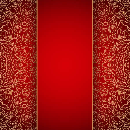 Elegant red background with gold lace ornament photo