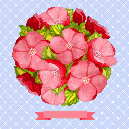 Round vintage watercolor bouquet of pink flowers and leaves Vector