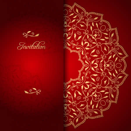 Red lace ornate background with floral ornament Ilustração