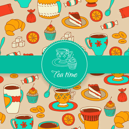 Concept of tea time sticker with sweet stuff Vector