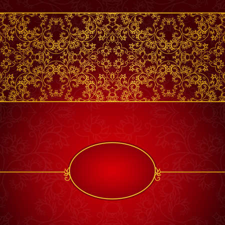 Abstract gold and red invitation frame with lace ornament
