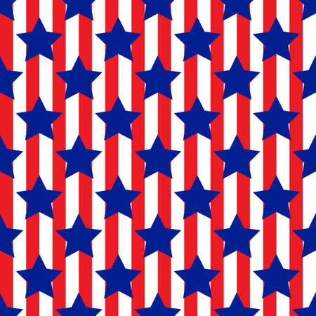 Seamless pattern with star patriotic red and blue usa Vector