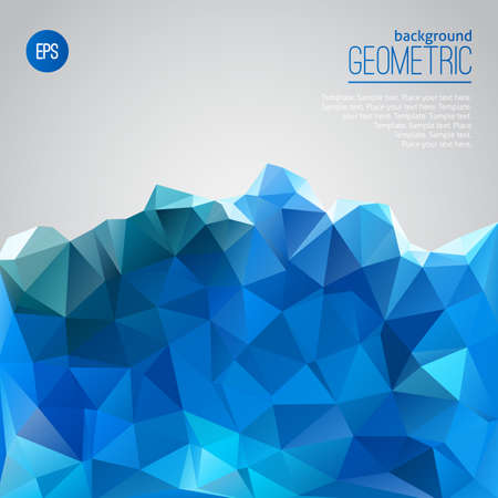 Blue mountain of triangles abstract geometric template Vector