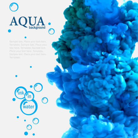 Aqua blue ink in water template with bubbles Vector
