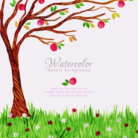 arbre automne: arbre d'aquarelle avec des pommes et de l'herbe