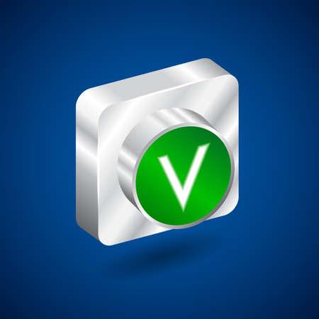 validation: Validation accepted metall green button Illustration