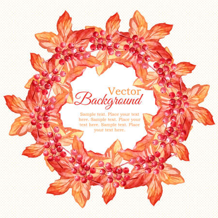 Watercolor autumn wreath with leaves and berries Illustration