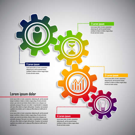 Business infographic with cogwheels and icons Vector