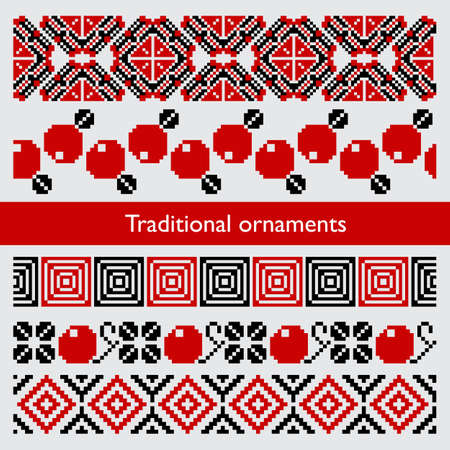 Traditional pixel seamless ornaments embroidery