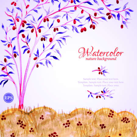 Watercolor landscape with fruit tree and grass Vector
