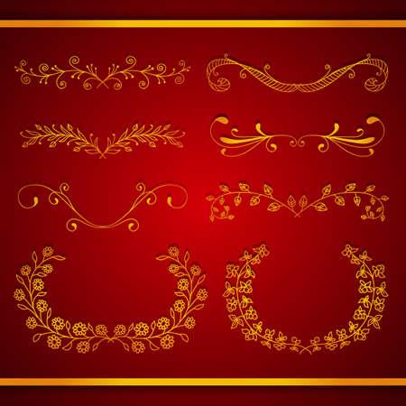 to foliate: Set of elegant calligraphic foliate golden borders