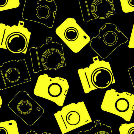Seamless background with blue cameras Vector
