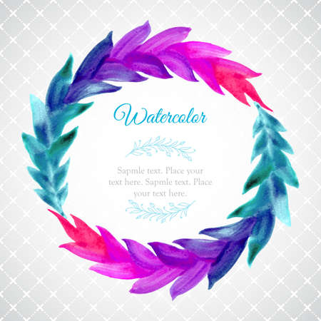 Watercolor template with wreath of colorful leaves Vector