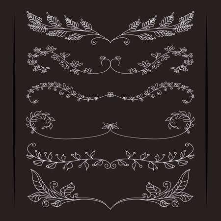 Set of elegant calligraphic foliate borders Vector