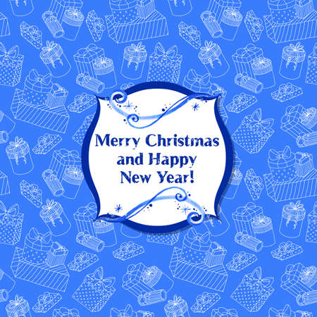 Greeting Christmas card with seamless presents Vector