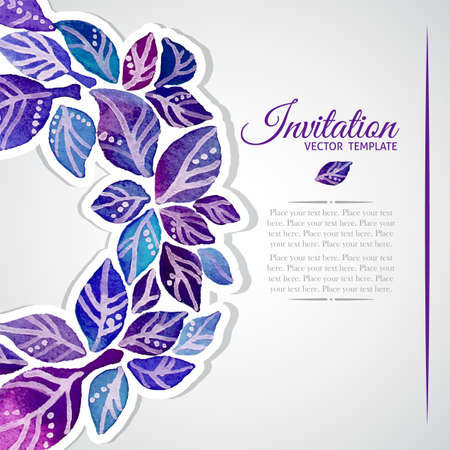 lace: Elegant invitation template with watercolor wreath of violet and blue leaves Illustration