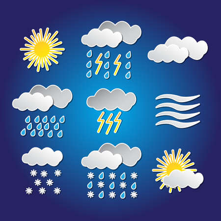 Set of nine weather funny icons with shadows on blue background Vector