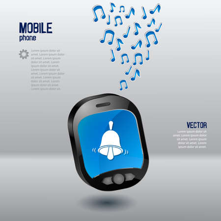 Mobile phone template with bell and music notes Vector