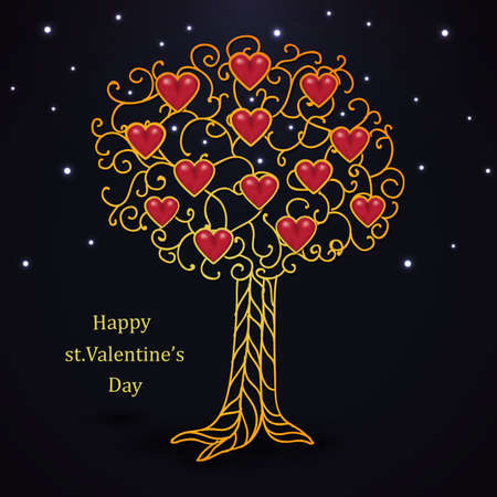 forged: Gold forged valentines day tree with hearts