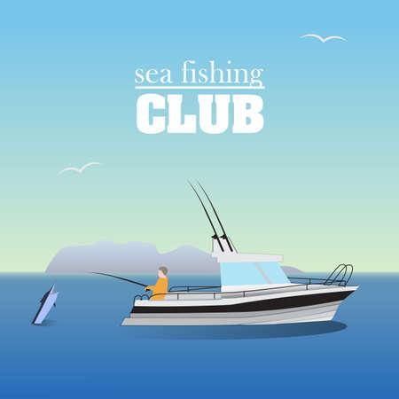 sportfishing: Sea marlin fishing on the boat