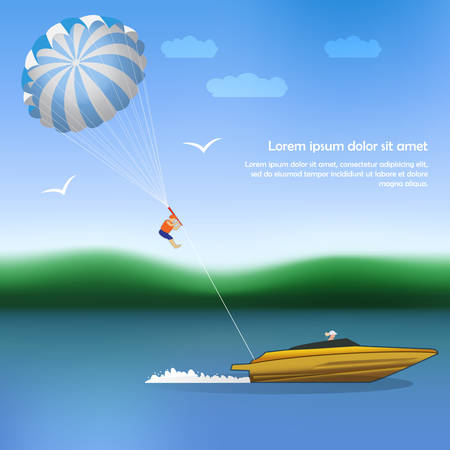 parachuting: Summer parachuting over river with boat.