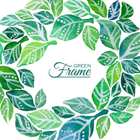 Decorative frame of watercolor leaves wreath Ilustração