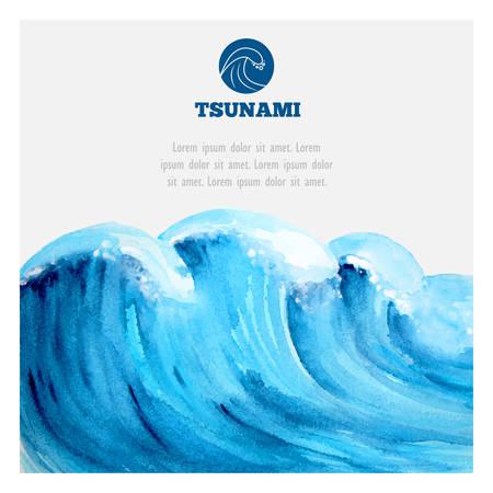 Olas de tsunami de la acuarela del océano