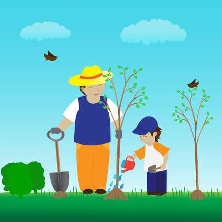 baum pflanzen: Pflanzung Baum mit Familie im Garten
