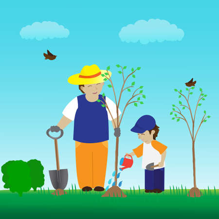 Planting tree with family in the garden
