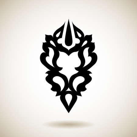 siluetas de elefantes: Tatuaje tribal negro reflejada