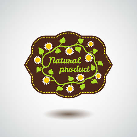 Natural product emblem with flower Vector