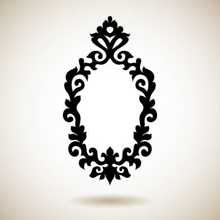 Tribal reflected black tattooed frame. Hand drawn ornamental mirror pattern. Vector