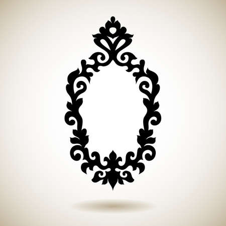 Tribal reflected black tattooed frame. Hand drawn ornamental mirror pattern.