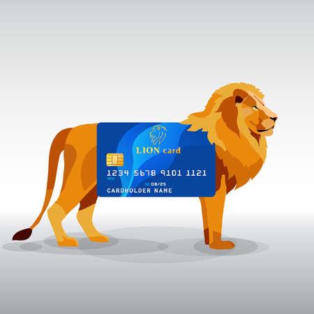bankomat: Gredit card hung on king lion
