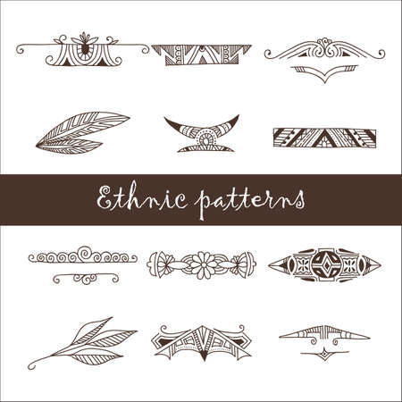 wigwam: Set of different ethnic doodle patterns