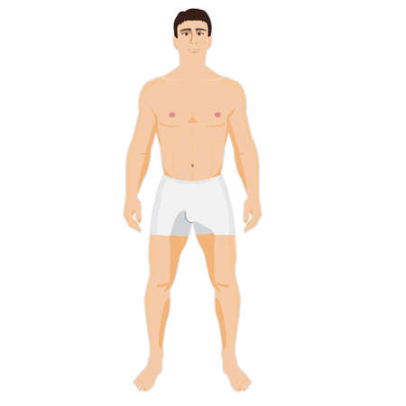Man is standing in the underwear