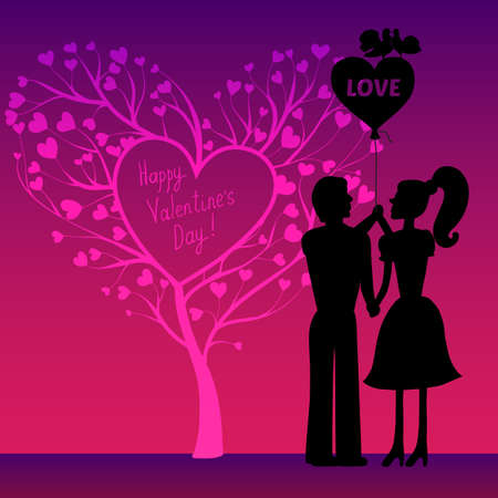 greating card: Greating Valentines card with  couple Illustration