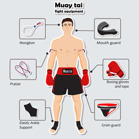 groin: Sport equipment for muay tai martial arts Illustration