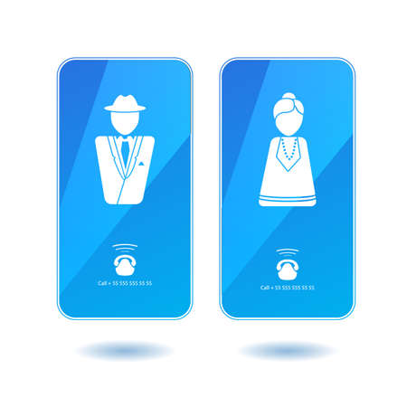 dialing: Icons of dialing mister and missis on screen