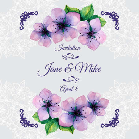 Watercolor elegant wedding invitation with japanese sakura Vector