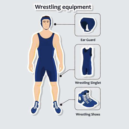 wrestle: Set of wrestling equipment with man