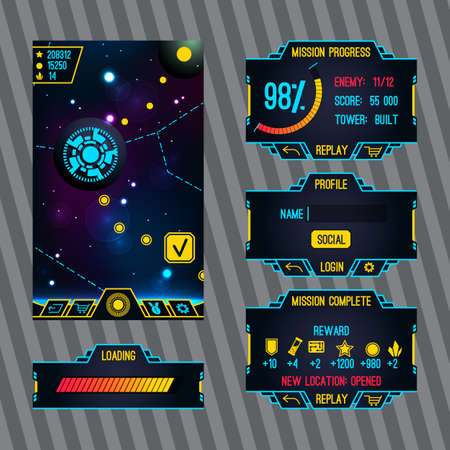 Futuristic space game interface with screen