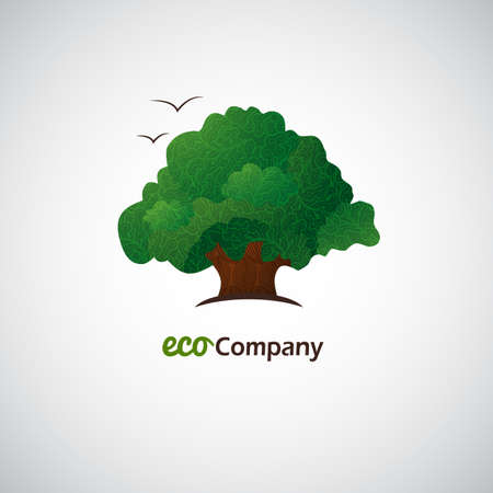 Company business icon with laced green tree