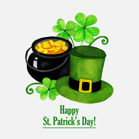 St.patrick day greeting card with hat, coins and clover Vector
